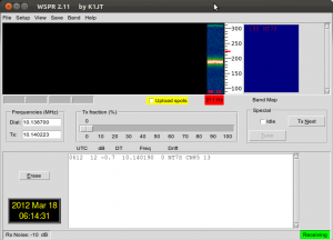 First OpenBeacon WSPR Capture