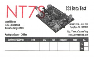 NT7S CC1 Beta Test QSL